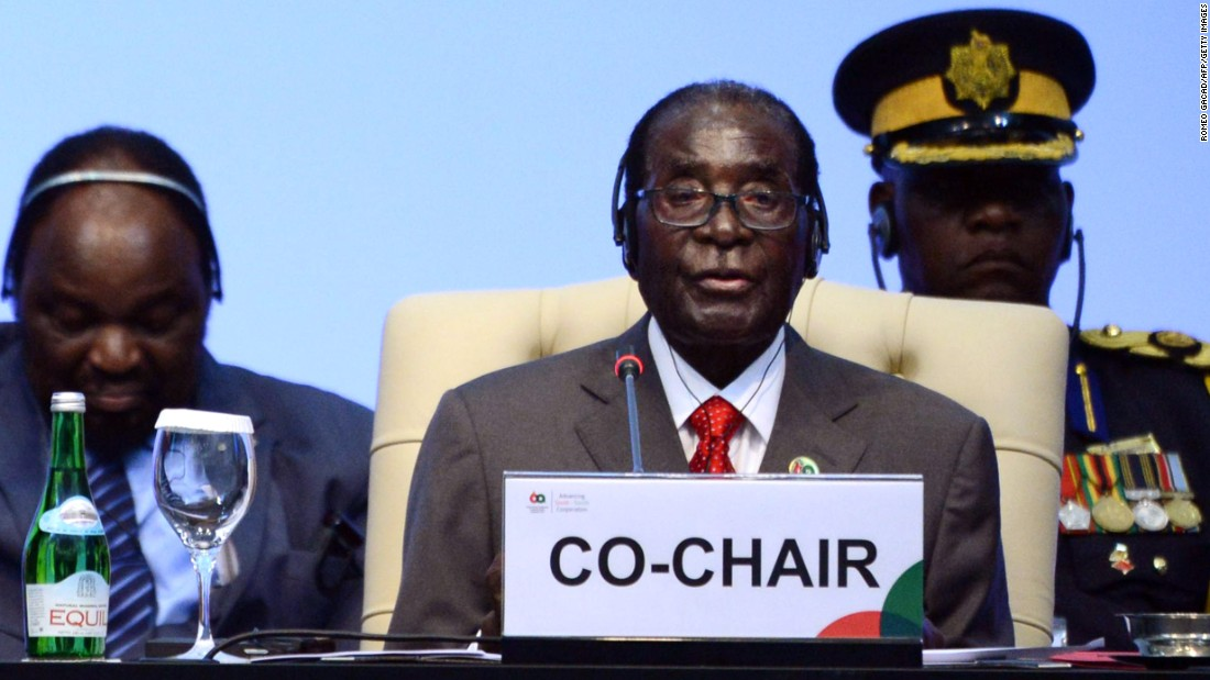 Mugabe delivers his closing statement at a conference in Jakarta, Indonesia, in 2015.