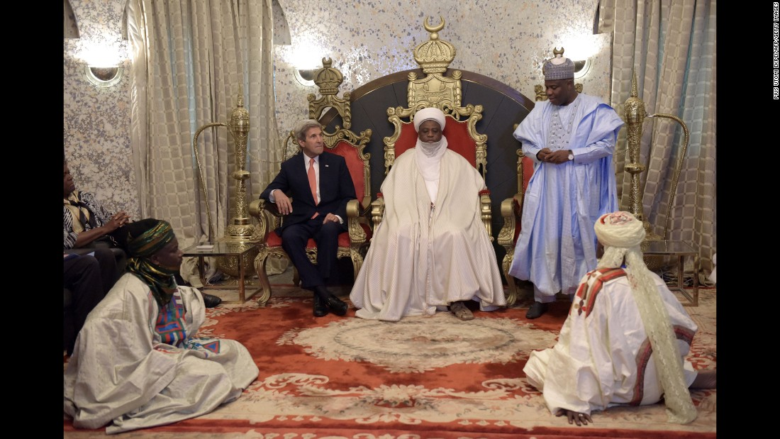 US Secretary of State John Kerry, center left, meets with Muhammad Sa'ad Abubakar, Sultan of Sokoto, and Governor of Sokoto Aminu Tambuwal in Sokoto, Nigeria, on Tuesday, August 23.