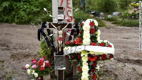 Partial view of a cenotaph paying homage to student Julio Cesar Mondragon is pictured in Iguala, on September 28, 2015. Students from a rural teachers school in the southern state of Guerrero, disappeared after they were attacked by local police in the city of Iguala on September 26, 2014.  AFP PHOTO / RONALDO SCHEMIDT        (Photo credit should read RONALDO SCHEMIDT/AFP/Getty Images)