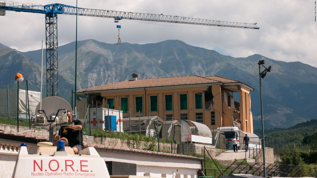 The destroyed convent of Amatrice is visible from the Italian Red Cross field headquarters in Amatrice.