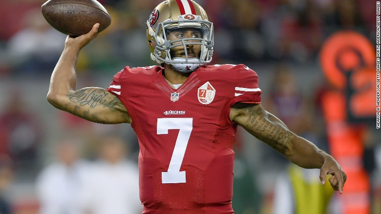 NFL's Kaepernick sits in protest during national anthem