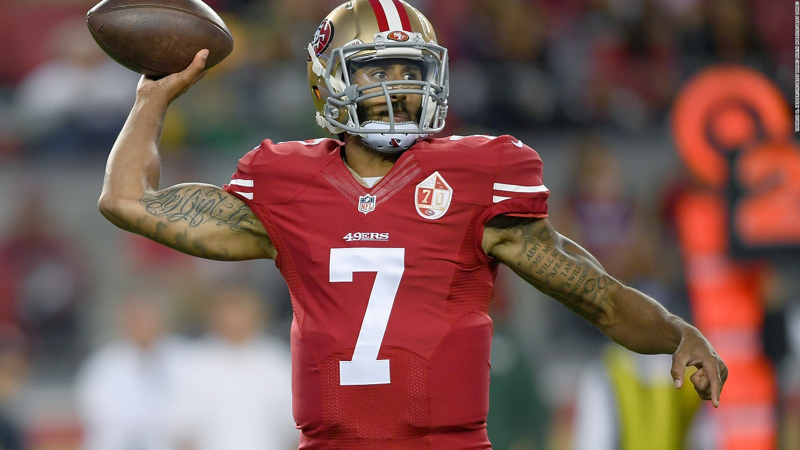 6a0ffb3d6 ... NFL star Colin Kaepernick sits in protest during national an San  Francisco 49ers ...