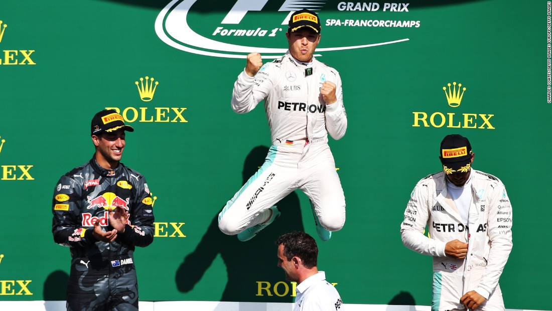 "A month later, Hamilton had to start at the back of the grid after Mercedes chose to make a raft of engine changes in Spa. Hamilton worked his way up to third, but Rosberg romped to the checkered flag <a href=""http://cnn.com/2016/08/28/motorsport/belgian-grand-prix-chaos/"" target=""_blank"">for his first win at the legendary circuit.</a>"