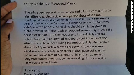 If you see a clown, or anybody else suspicious, call the police, says the letter from Fleetwood Manor.