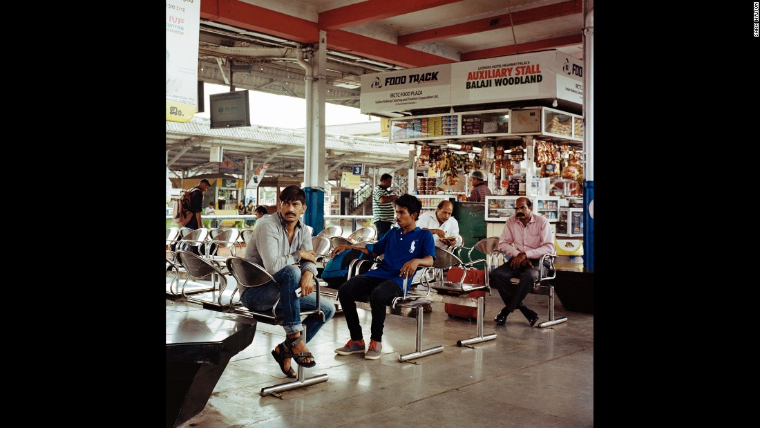 Passengers sit in the waiting area at Shoranur Junction, a railway station in Kerala that stands at the intersection of four railway lines connecting the east, west, south and north of the country.