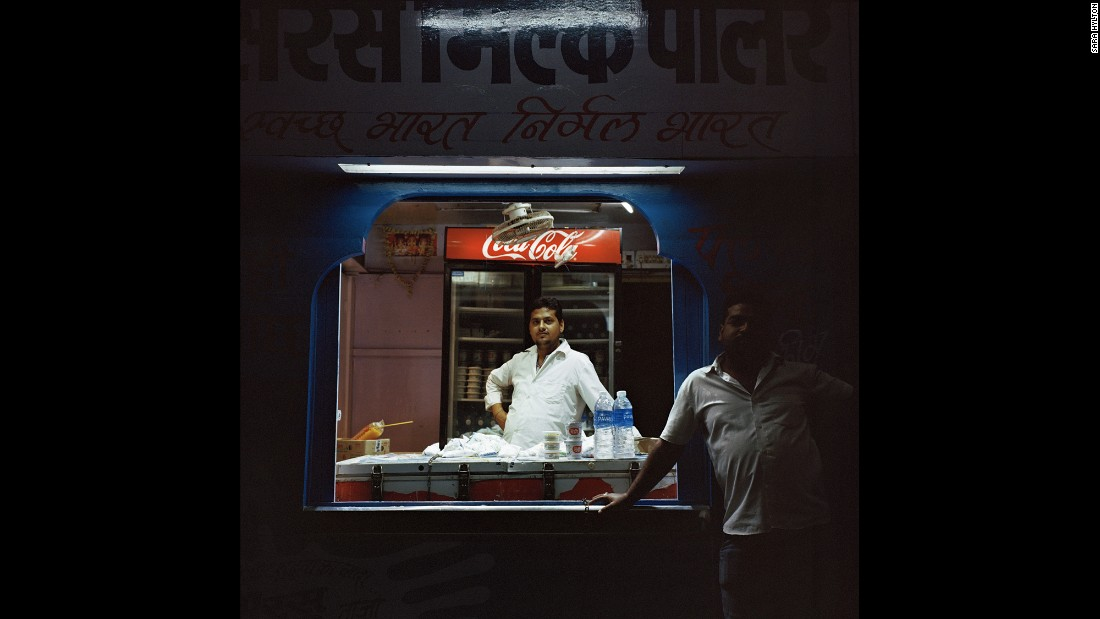 Ravi, a food vendor at the Kota Junction train station in Rajasthan, sells bottled water and fried Indian snacks to travelers. Food options vary by state, particularly from north to south, Hylton said.