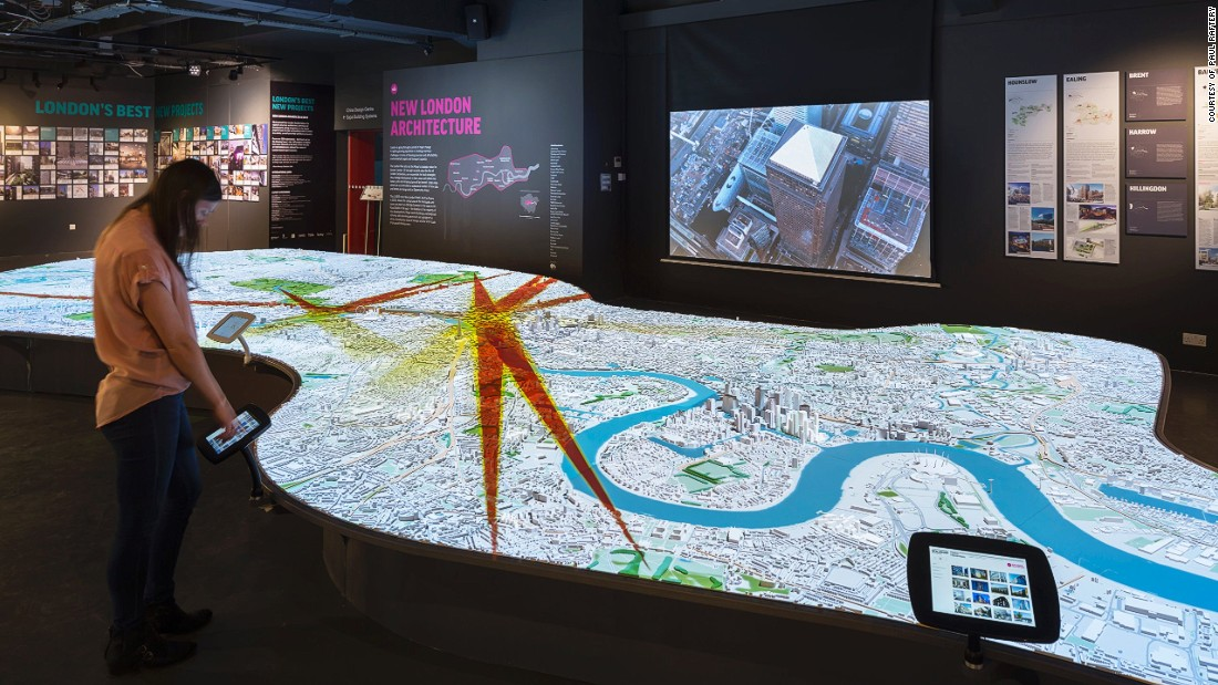 The NLA's permanent exhibition includes a 1:2000 scale interactive model of central London.