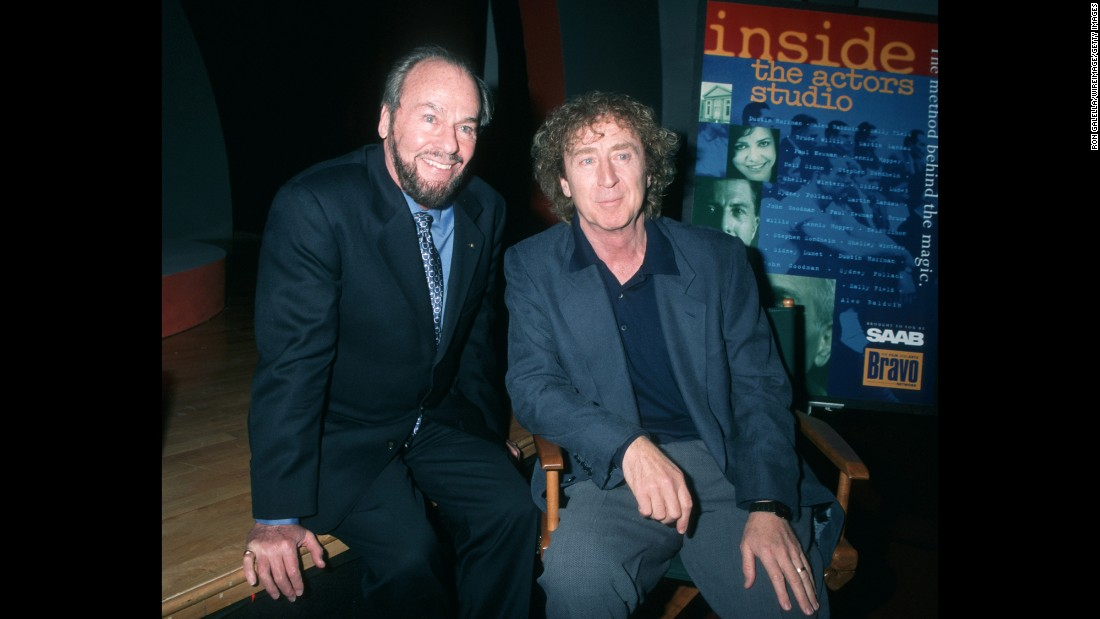 "James Lipton sits with Wilder during a taping of the show ""Inside the Actor's Studio"" in 1996."