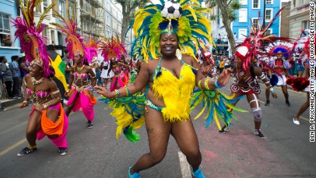 LONDON, ENGLAND - AUGUST 29:  Performers take part in the Notting Hill Carnival on August 29, 2016 in London, England. The Notting Hill Carnival has taken place every year since 1966 in Notting Hill in north-west London and is one of the largest street festivals in Europe with more than a million people expected over two days. on August 29, 2016 in London, England.  (Photo by Ben A. Pruchnie/Getty Images)