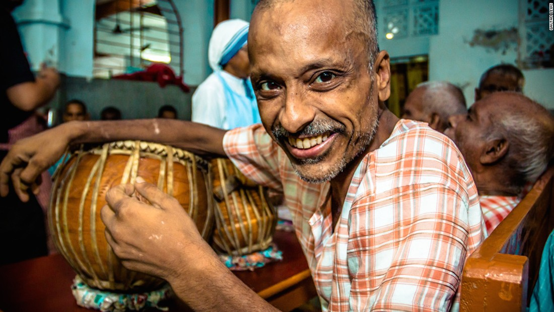 "A tabla player is pictured at the Home for the Dying and the Destitute. ""Even though he was in a place where he was being provided end of life care, he was still happy and musical,"" says Gautam. ""Where there is joy, there is life -- one of the reasons Kolkata is also called the 'City of Joy.'"""
