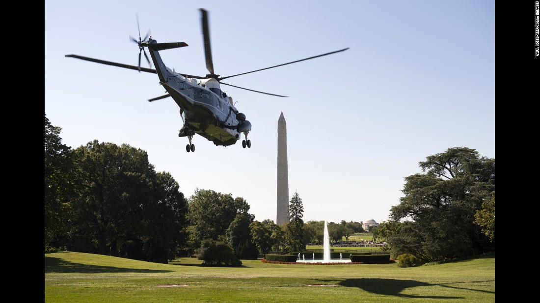 "Marine One leaves the White House on Tuesday, August 23. President Barack Obama was traveling to Louisiana to tour flood damage. <a href=""http://www.cnn.com/2016/07/27/politics/gallery/us-military-july-photos/index.html"" target=""_blank"">See U.S. military photos from July</a>"