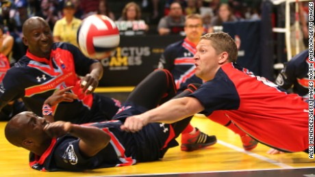 Sitting volleyball is fast and furious.