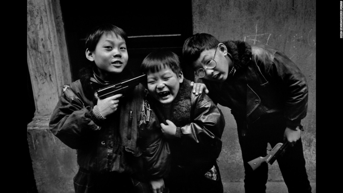 Children play in Shanghai, China, in 1995. Riboud was one of the first European photographers to travel into Communist China, according to Agence France-Presse.