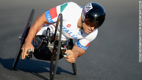 Former F1 and CART racing driver Alex Zanardi is hand cycling champion.