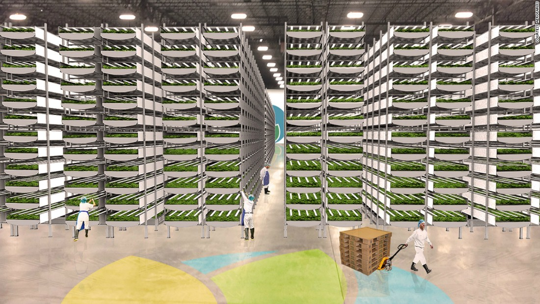 Built in a converted steel mill in Newark, New Jersey, it is the largest indoor vertical farm in terms of production capacity, which is estimated at 2 million pounds of greens a year, according to the company. This rendering shows what the facilities will look like when fully operational.