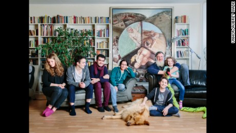 The Jellineks host Kinan in Berlin, Germany. From left to right: Rosa, Bela, Kinan, Kyra, Chaim, Joshy and Lilli.