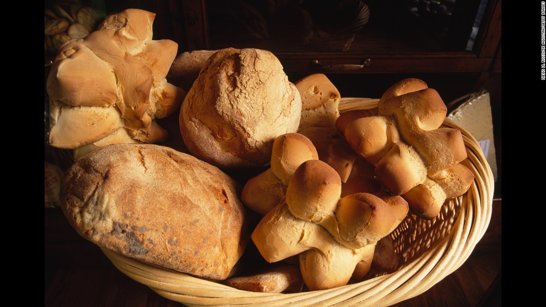These traditional breads are part of the regular diet in Sardinia, Italy.