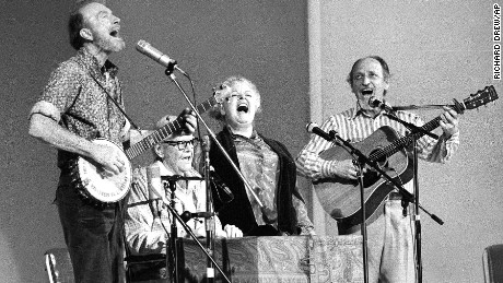 The Weavers perform in a 25th Anniversary reunion concert at Carnegie Hall in New York. From left are: Pete Seeger, Lee Hays, Ronnie Gilbert and Fred Hellerman.