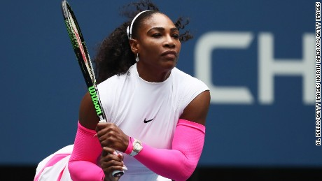Serena Williams in action during her third-round win over Johanna Larsson at the 2016 US Open.