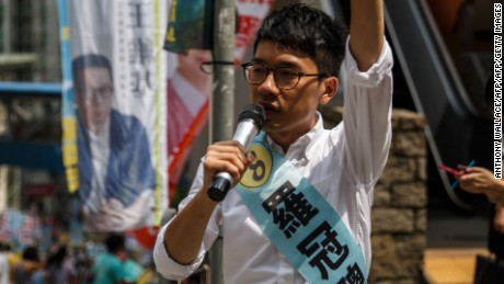 Nathan Law campaigns for his political party Demosisto