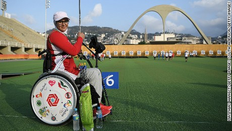 Iran's Zahra Nemati competed in the Rio Olympics archery competition in August.