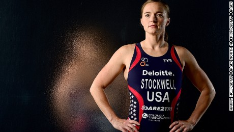 US para-triathlete Melissa Stockwell is an Iraq War veteran.