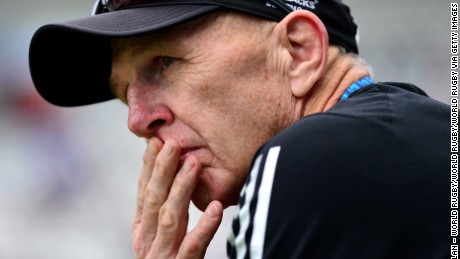 PARIS, FRANCE - MAY 13:  Gordon Tietjens, Coach of New Zealand looks on during the pool match between New Zealand and Russia on day one of the HSBC Paris Sevens at the Stade Jean Bouin on May 13, 2016 in Paris, France.  (Photo by Dan Mullan - World Rugby/World Rugby via Getty Images)