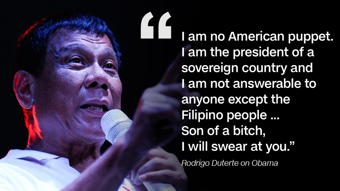 After US president Barack Obama said he would raise extrajudicial killings in a meeting with Duterte, the Philippines President responded angrily on September 5, first in English then in Tagalog. As a result, Obama canceled the meeting.