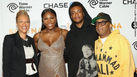 Tonya Lewis Lee, Serena Williams and Director Spike Lee (far right) attend the EPIX New York Premiere of  'Serena' in June.