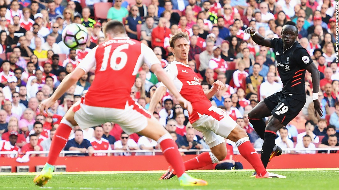 The academy has produced many stars such as Liverpool's Sadio Mane, seen here scoring against Arsenal.