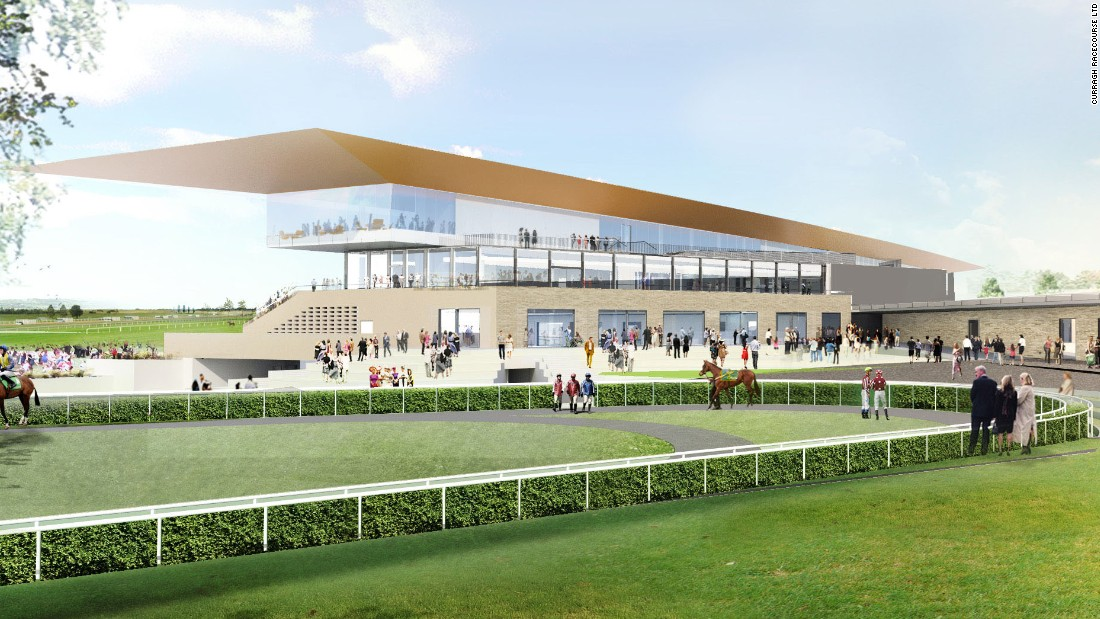 The new Curragh parade ground, with the grandstand in the background.