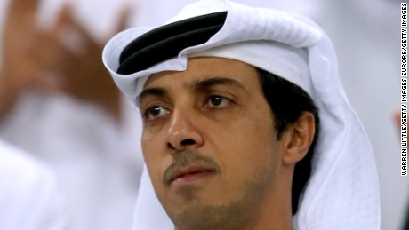 AL AIN, UNITED ARAB EMIRATES - MAY 15:  A portrait of Manchester city owner Sheikh Mansour bin Zayed Al Nahyan during the friendly match between Al Ain and Manchester City at Hazza bin Zayed Stadium on May 15, 2014 in Al Ain, United Arab Emirates.  (Photo by Warren Little/Getty Images)