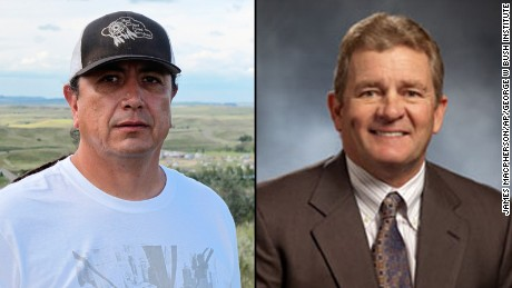 Standing Rock Sioux Chairman David Archambault II, left, and Energy Transfer Partners CEO Kelcy Warren.