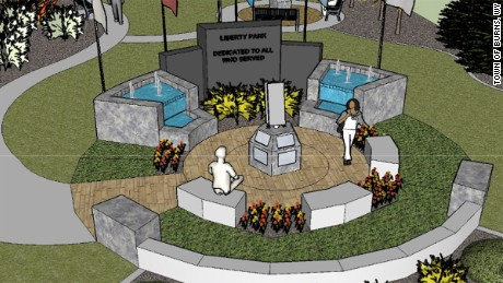 An artist's rendering of the future 9/11 memorial in Burns, WY.