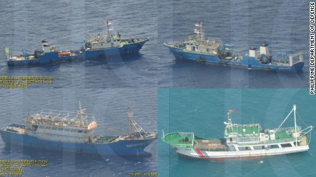 The Philippines has released images of Chinese ships it says are capable of dredging near the disputed Scarborough Shoal.