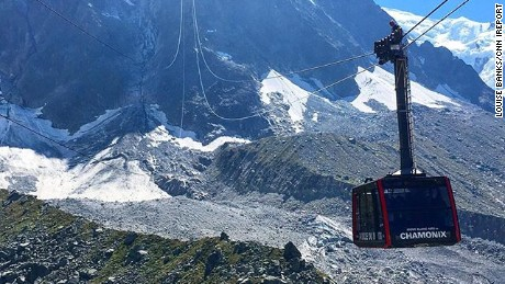 Louise Banks rode the Vallee Blanche Cable Car on Thursday afternoon, before it became stuck over Mont Blanc.