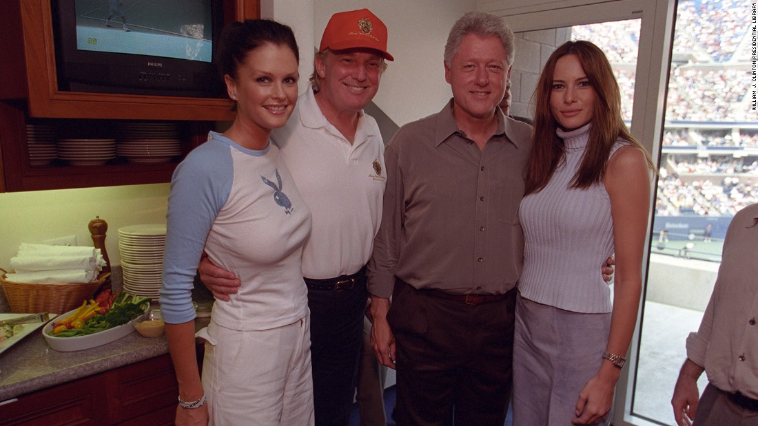 This photo includes Melania Knauss, now Trump's wife, and a fourth woman, identified by Politico as Sports Illustrated swimsuit model Kylie Bax, wearing a T-shirt with the Playboy bunny emblazoned across it.