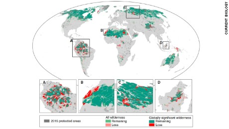 A study by James Watson and fellow researchers at the University of Queensland and published in Current Biology shows the extent of wilderness loss since the early 1990s.