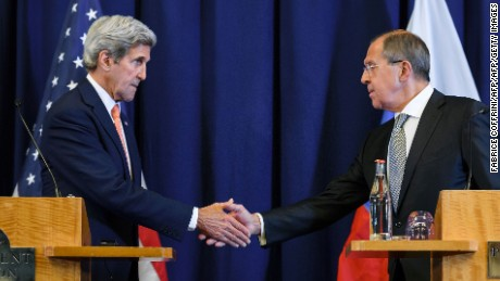 US Secretary of State John Kerry (L) and Russian Foreign Minister Sergei Lavrov shake hands at the end of a press conference closing meetings to discuss the Syrian crisis on September 9, 2016, in Geneva.  The United State and Russia on Friday agreed a plan to impose a ceasefire in the Syrian civil war and lay the foundation of a peace process, US Secretary of State John Kerry said.  / AFP / FABRICE COFFRINI        (Photo credit should read FABRICE COFFRINI/AFP/Getty Images)