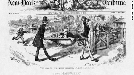 "Thomas Nast's ""We Are On the Home Stretch"" (1872), published in Harper's Weekly, mocked a politically fallen Greeley (who would die -- literally -- weeks later)"