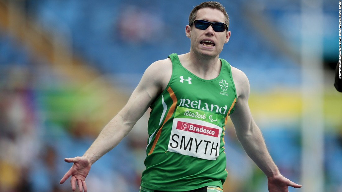 Jason Smyth of Ireland celebrates winning his third consecutive 100m Paralympic title and fifth Paralympic gold medal overall.<br />