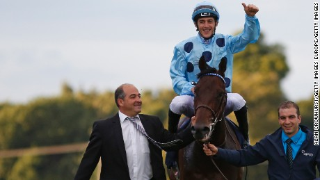 Christophe Soumillon celebrates his winning ride on Almanzor in The Qipco Irish Champion Stakes at Leopardstown.
