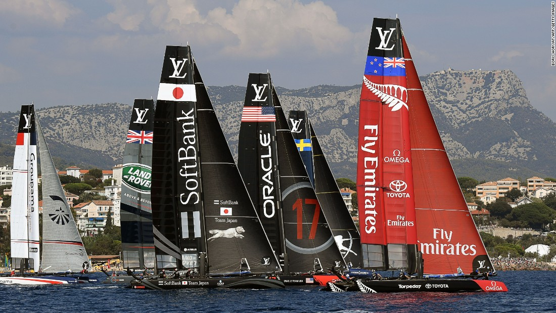 Multihulls France's Groupama, Great Britain's Land Rover, Japan's Softbank, USA's Oracle, Sweden's Artemis and New Zealand's Emirates sail on the first day of competition off Toulon.