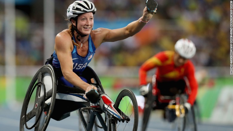 This article's author, Tatyana McFadden, after winning the women's 400 meter T54 final at the Rio 2016 Paralympic Games.