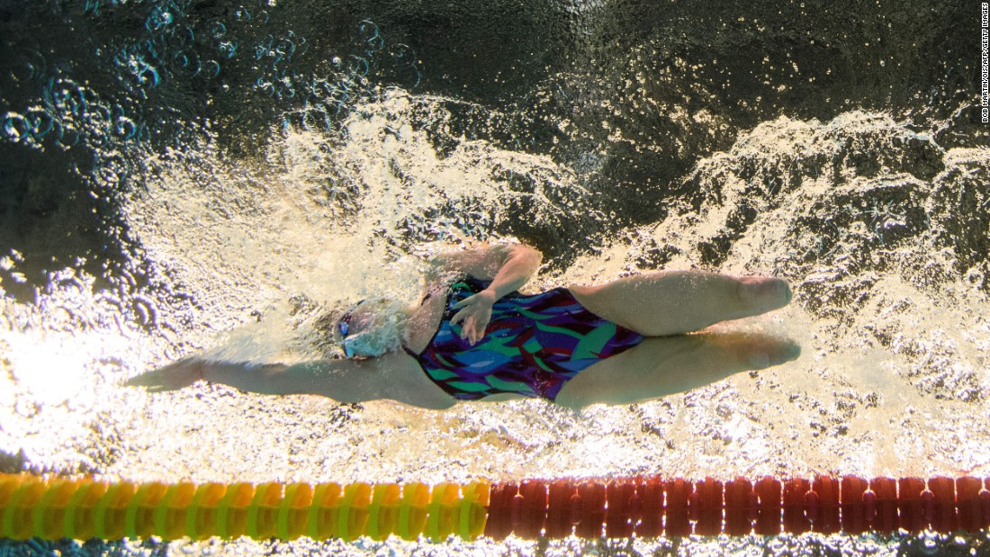 U.S. swimmer Jessica Long practices for the 400-meter freestyle S8 competition at the Paralympic Games in Rio de Janeiro, Brazil, on Thursday, September 8.