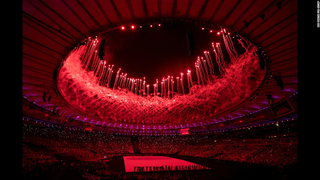 Fireworks light up Maracana Stadium at the Opening Ceremony of the Paralympic Games in Rio de Janeiro, Brazil, on Wednesday, September 7.