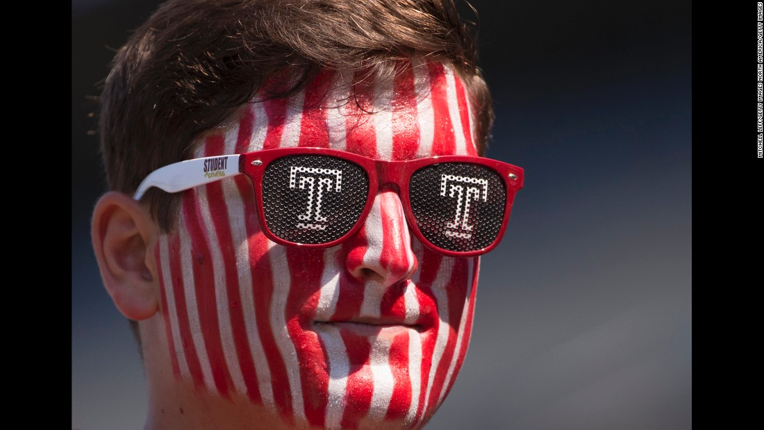 A Temple football fan looks on prior to a game against Stony Brook in Philadelphia on Saturday, September 10. Temple beat Stony Brook, winning 38-0.