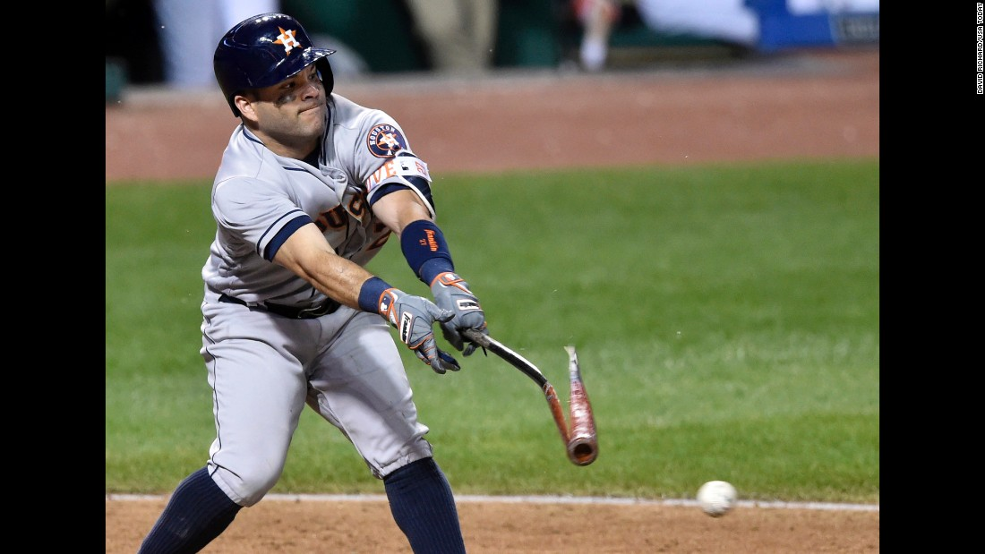 Houston's Jose Altuve breaks his bat on a groundout against Cleveland during a game in Cleveland on Wednesday, September 7. Cleveland won 6-5.