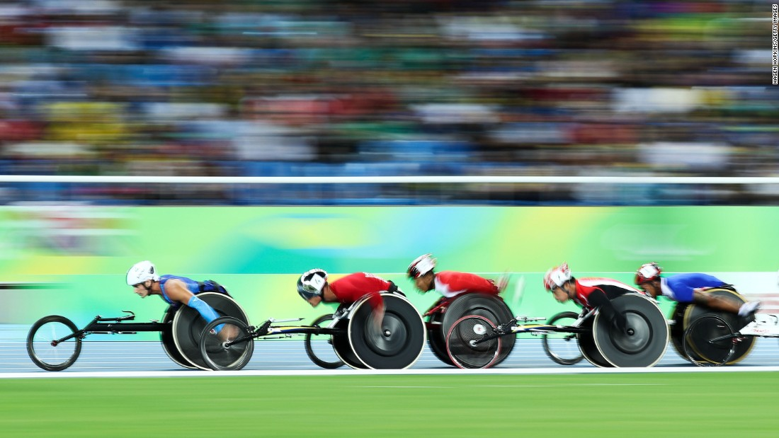 Athletes compete in the men's 5000-meter T54 heat at the Paralympic Games in Rio de Janeiro, Brazil, on Friday, September 9.