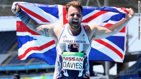 GB's Aled Davies celebrates winning the men's shot put F42.